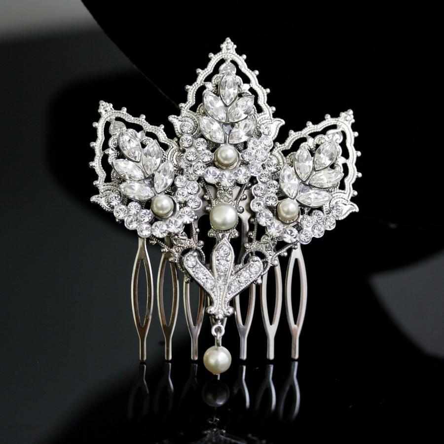 Hochzeit - Wedding Comb Decorative Hair Comb Mantilla Comb Bridal Hair Accessory Silver Filigree Headpiece  URSULA DLX