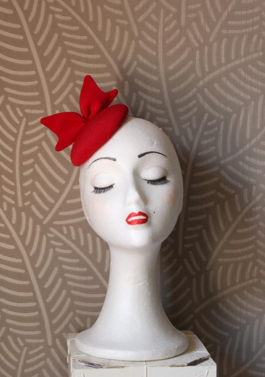 Mariage - Mini Red Hat, Mini Red Veil Hat,Bow Fascinator Hat,Red Fascinator Hat,Red Headdress,Red Headpiece,Red Cocktail Hat