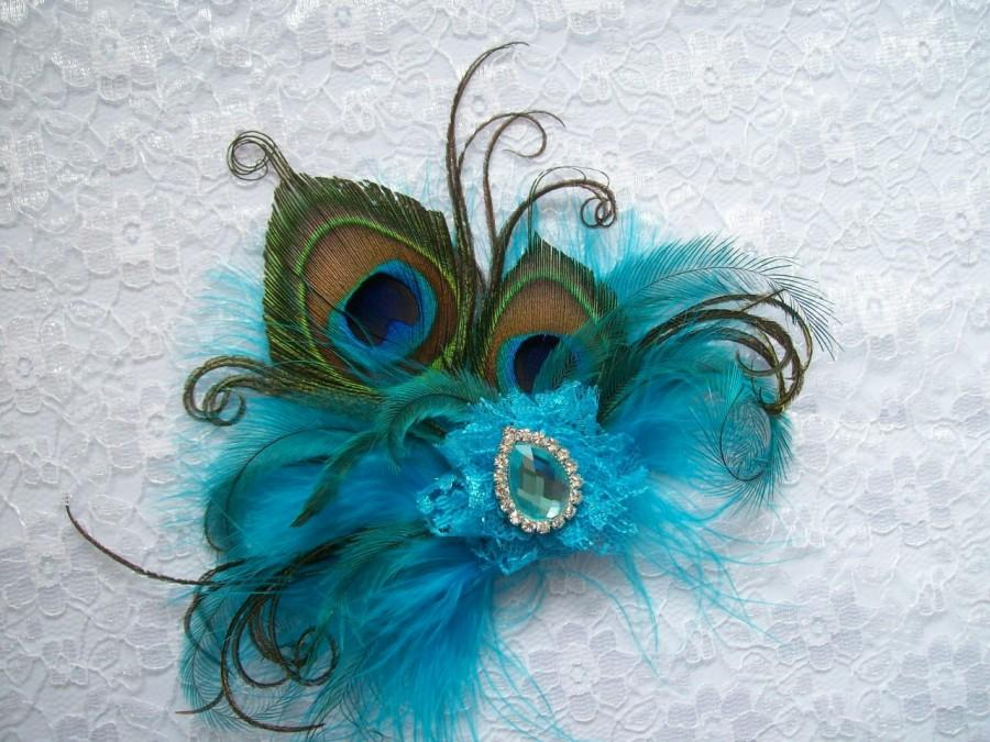 Mariage - Small and Dainty Shades of Pale Turquoise Blue Peacock Feather & Crystal Vintage Mini Fascinator Hair Clip- Custom Order