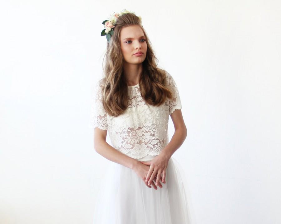 Düğün - Lace Ivory short sleeves top , Ivory bridal lace top