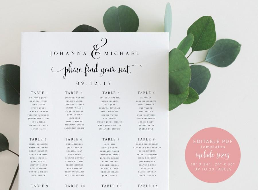 Instant Download Printable Wedding Seating Chart Seating Sign Diy