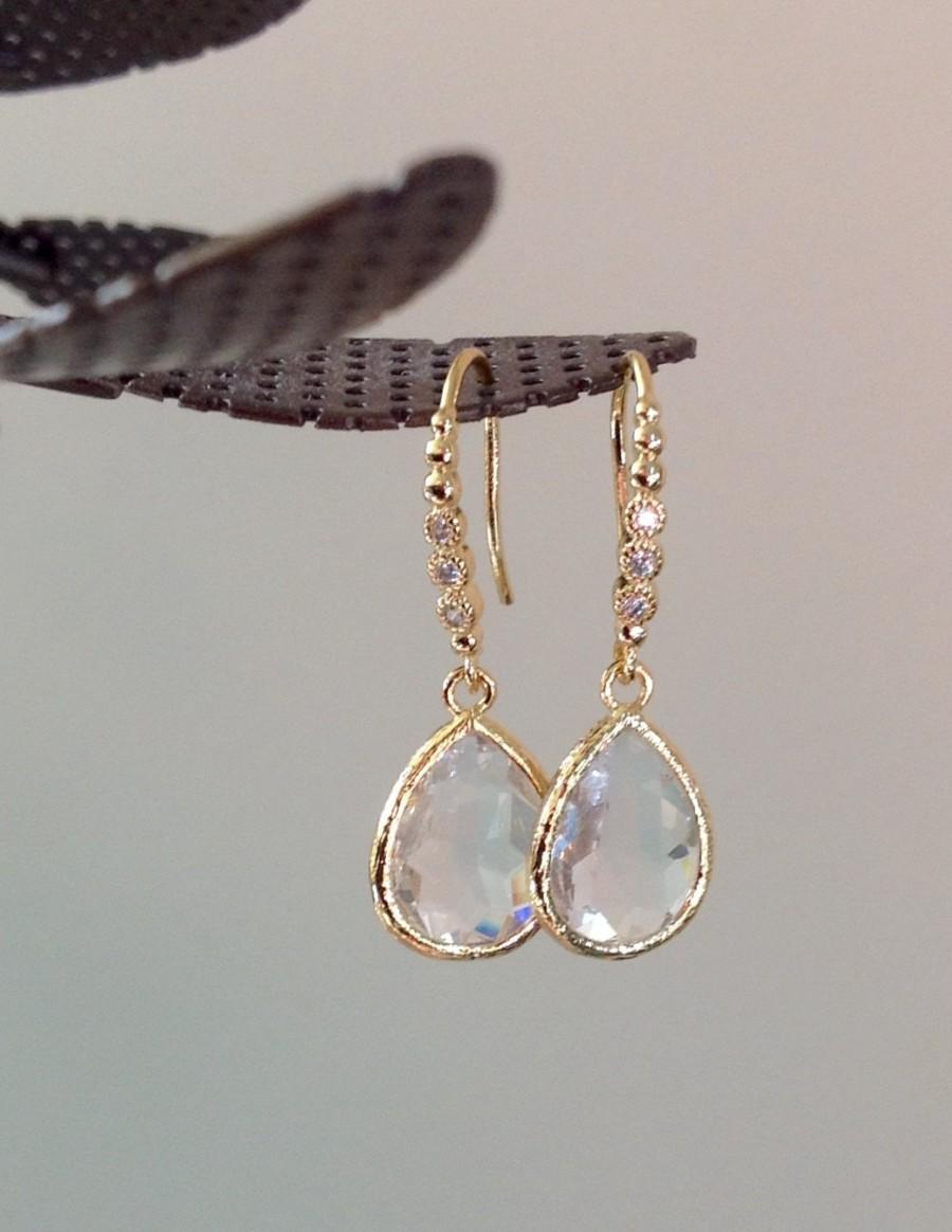 Dangle Earrings Clear Drop Wedding Will You Be My Bridesmaid Gift Earings Crystal