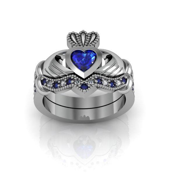 Mariage - Sterling Silver Created Blue Sapphire Claddagh  Love and  Friendship Engagement Ring Set
