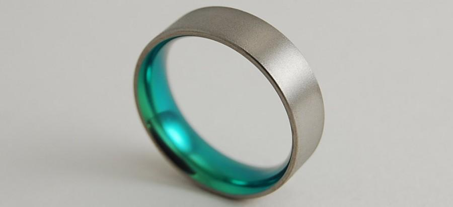 Свадьба - Mens Titanium Ring Apollo Band in Immortal Green with Comfort Fit