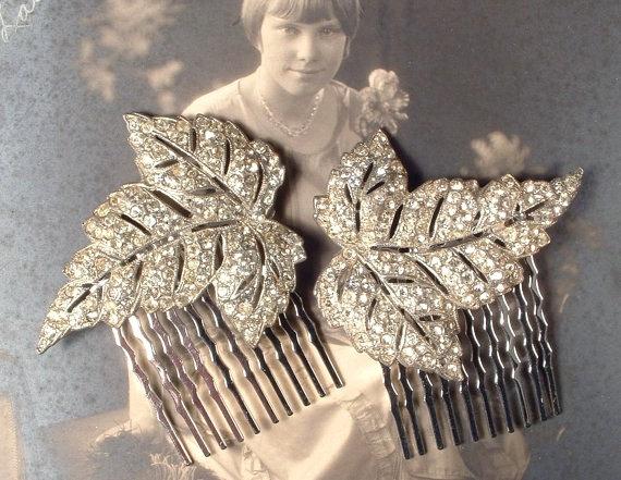 1920s Hair Comb PAIR, Art Deco Rhinestone Silver Leaf Antique Bridal ...