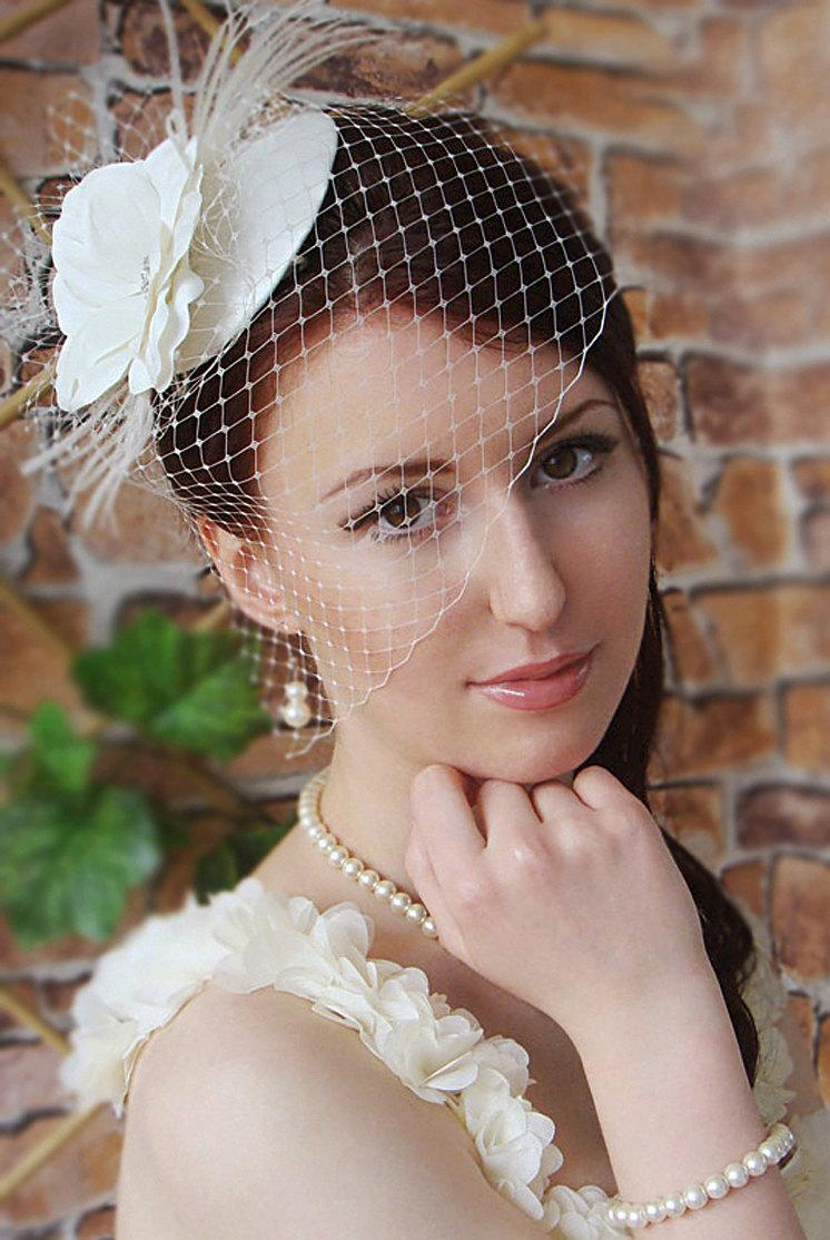 Bridal Mini Hat Wedding Hairstyles Hair Birdcage Veil Headpiece Updos Ivory Fascinator