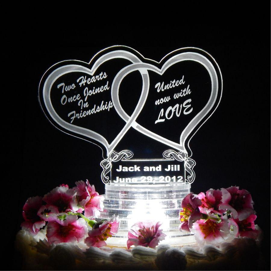 Свадьба - Double Heart Wedding Cake Topper - Light Up Cake Top -Acrylic Cake Topper - LED Cake Top - Custom Cake Top