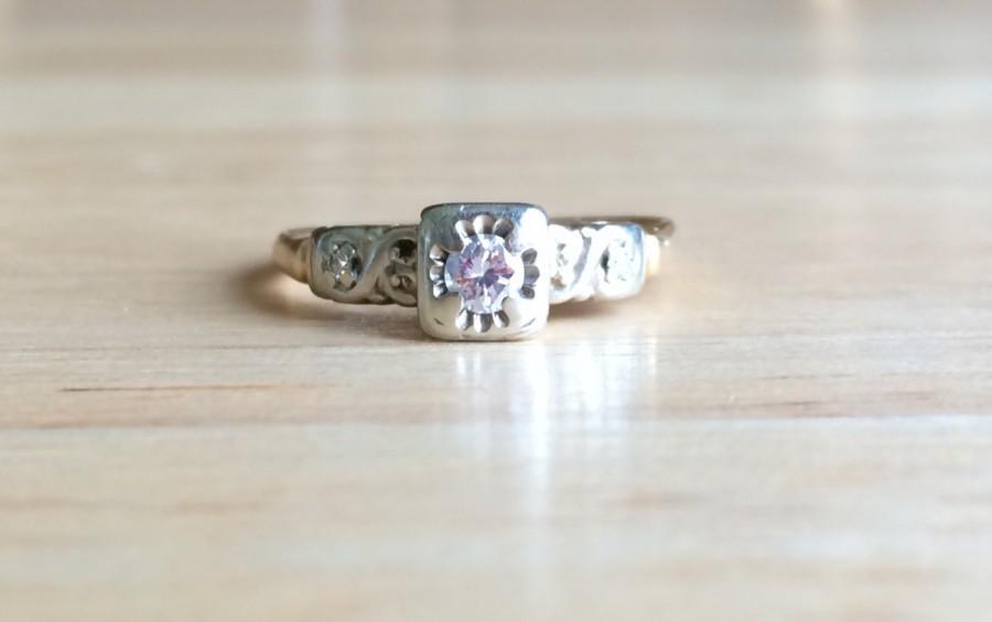 Свадьба - Vintage Art Deco Diamond 14kt Yellow & White Gold Ring - Size 7 1/4 Sizeable Engagement - Wedding Antique 1920s to 1940s Fine Jewelry