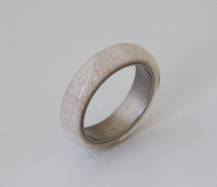 Свадьба - antler ring SIZE 9.5 titanium ring titanium wedding band deer antler band men ring woman ring #8