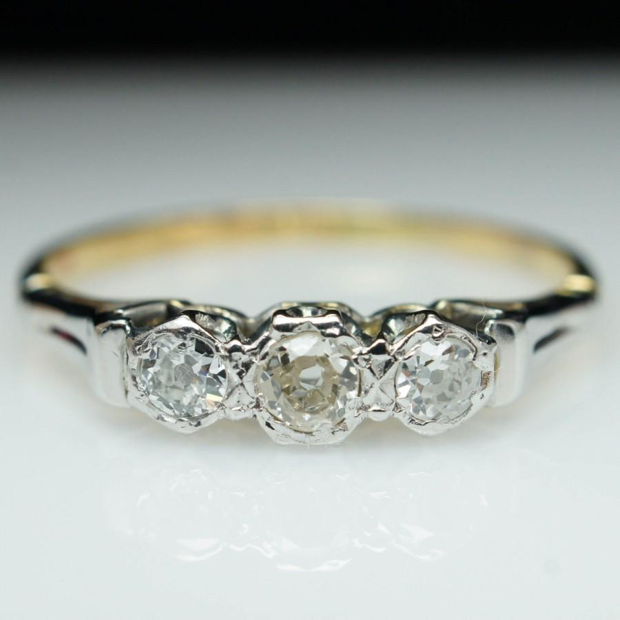 Vintage Dainty Diamond Ring Unique Engagement Ring Mixed Metal 3 Stone Diamond  Engagement Anniversary Wedding Band 14k Yellow & White Gold