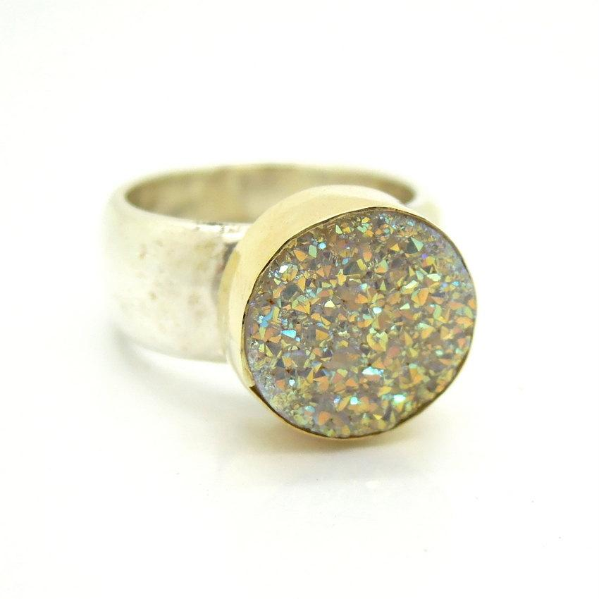 Свадьба - Druzi opal silver ring set in gold on a hammered band