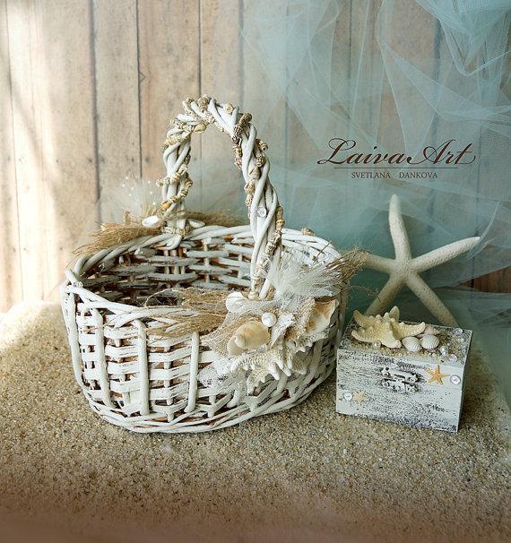 Wedding - Beach Wedding Flower Girl Basket Beach Wedding Shells and Starfish Wedding Shells Seashell Beach Wedding Basket