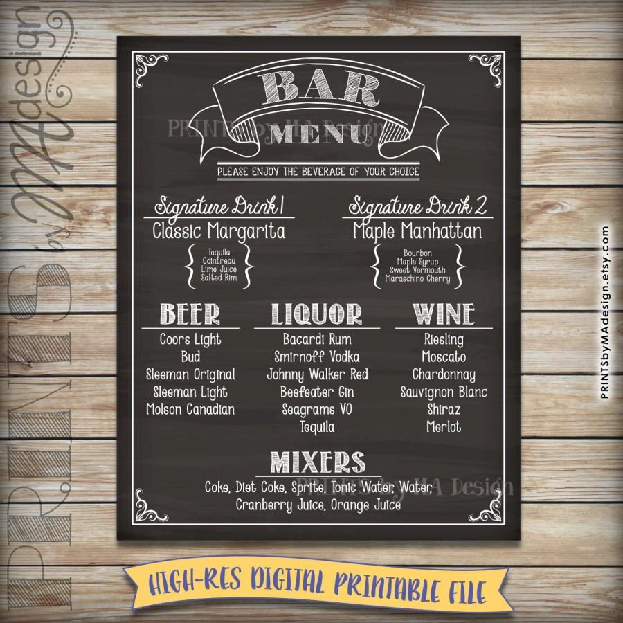 Bar Menu Sign Chalkboard Drink Alcohol Selection Birthday Party