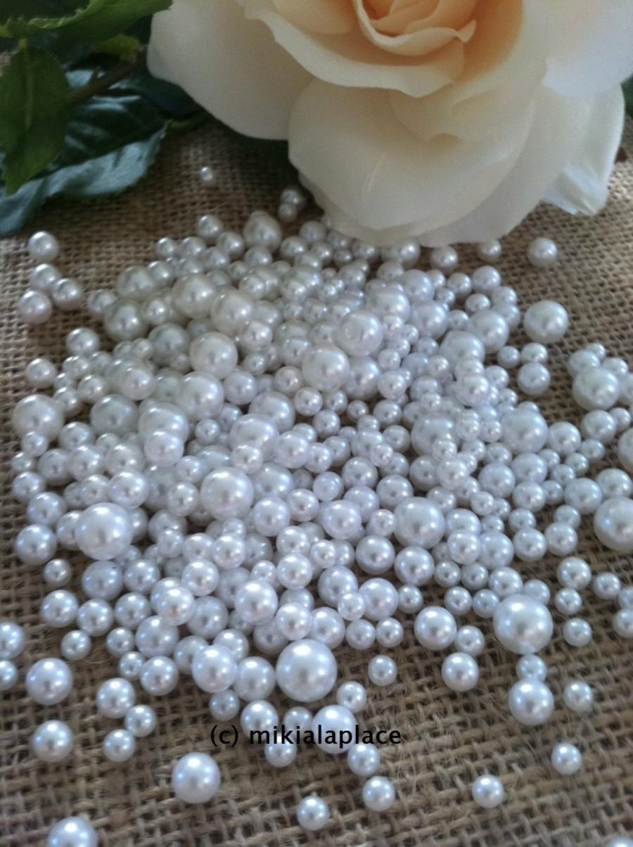 Mariage - 400 Pcs No Hole Pearl Beads White Size Confetti & Table Scatters
