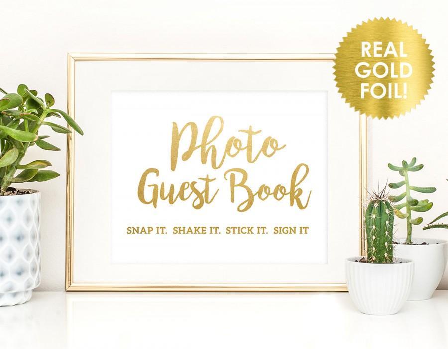 Hochzeit - PHOTO GUESTBOOK SIGN  in Gold Foil - Gold Foil Photo Guest Book Sign - Wedding Guest Book Sign  - Gold Foil Wedding Sign - Peony Theme