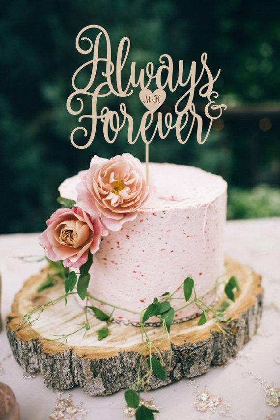 Hochzeit - Wedding Cake Topper Always & Forever Cake Topper Wood Cake Topper Silver Gold Cake Topper