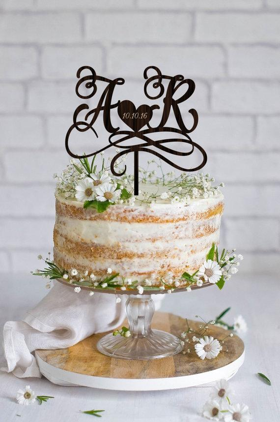 Wedding Cake Topper Initials Cake Topper Names Personalized Wedding Cake Topper Wood Cake Topper