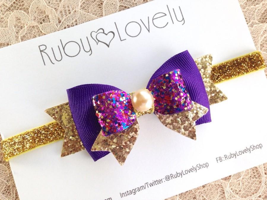 زفاف - Baby Purple Bow, Purple and Gold Bow, Purple Gold Headband/Clip, Birthday bow, Purple Glitter Bow, Purple Headband, Ruby Lovely Shop