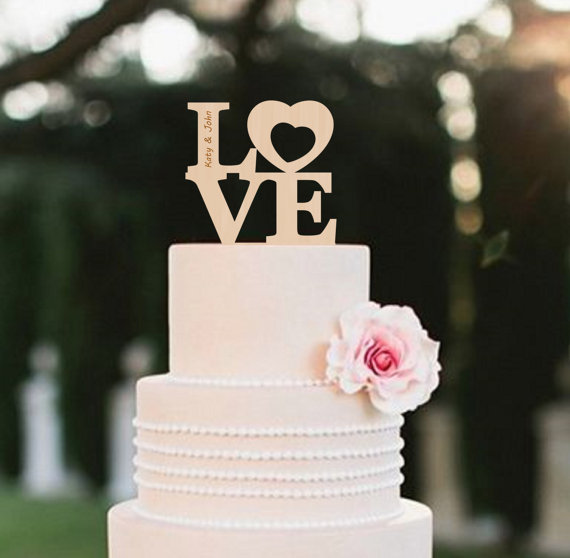 Wedding - LOVE Wedding Cake Topper Rustic Custom Cake Topper Personalized Wood Cake Topper Silver Cake Topper