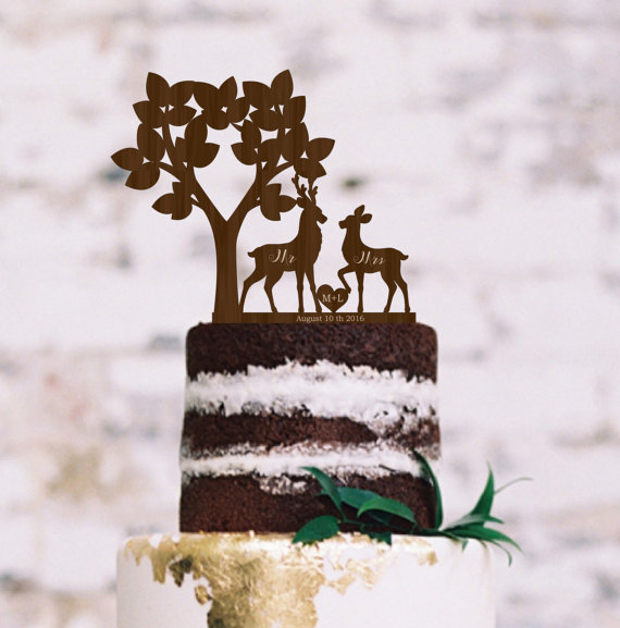 Wedding - Wedding Rustic Cake Topper Deer Silhouette Tree Cake Topper Personalized Wood Cake Topper Buck and Doe Wedding Cake Topper