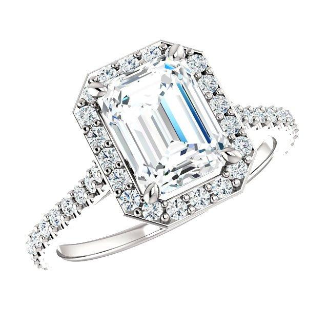 1 50 Carat Emerald Cut Diamond Halo Engagement Ring 18k White Gold Gia Rings For Women Cyber Monday Black Friday 2016