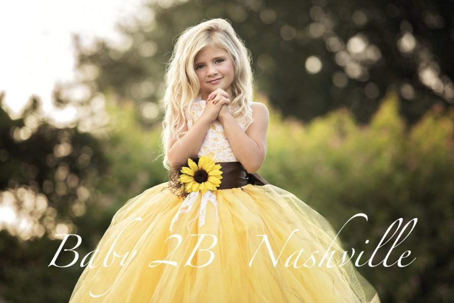 64af95d43dc32 Sunflower Dress Yellow Dress Flower Girl Dress Lace Dress Tulle ...