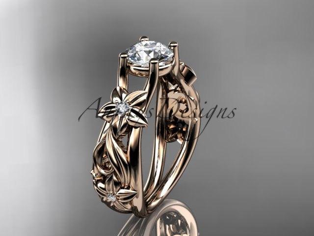 Свадьба - 14kt rose gold diamond floral wedding ring, engagement ring ADLR216