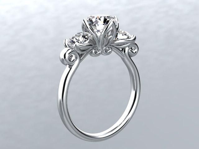 Свадьба - Diamond Engagement Ring Round White Lab Grown Diamond Simulates 1.60tw 14k White Gold Engagement  Wedding Ring Pristine Custom Rings