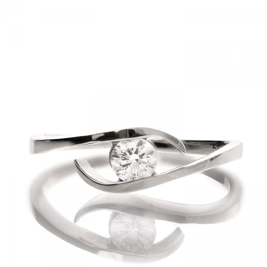 Свадьба - Wave Diamond Ring, 14K White Gold and Diamond engagement ring, engagement ring, wedding band, crown ring, art deco, twist ring, R009