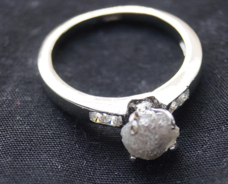 Wedding - Natural white Diamond Ring-Gray rough diamond Ring- uncut diamond -White raw diamond ring 925 Sterling silver wedding Ring- conflict Free