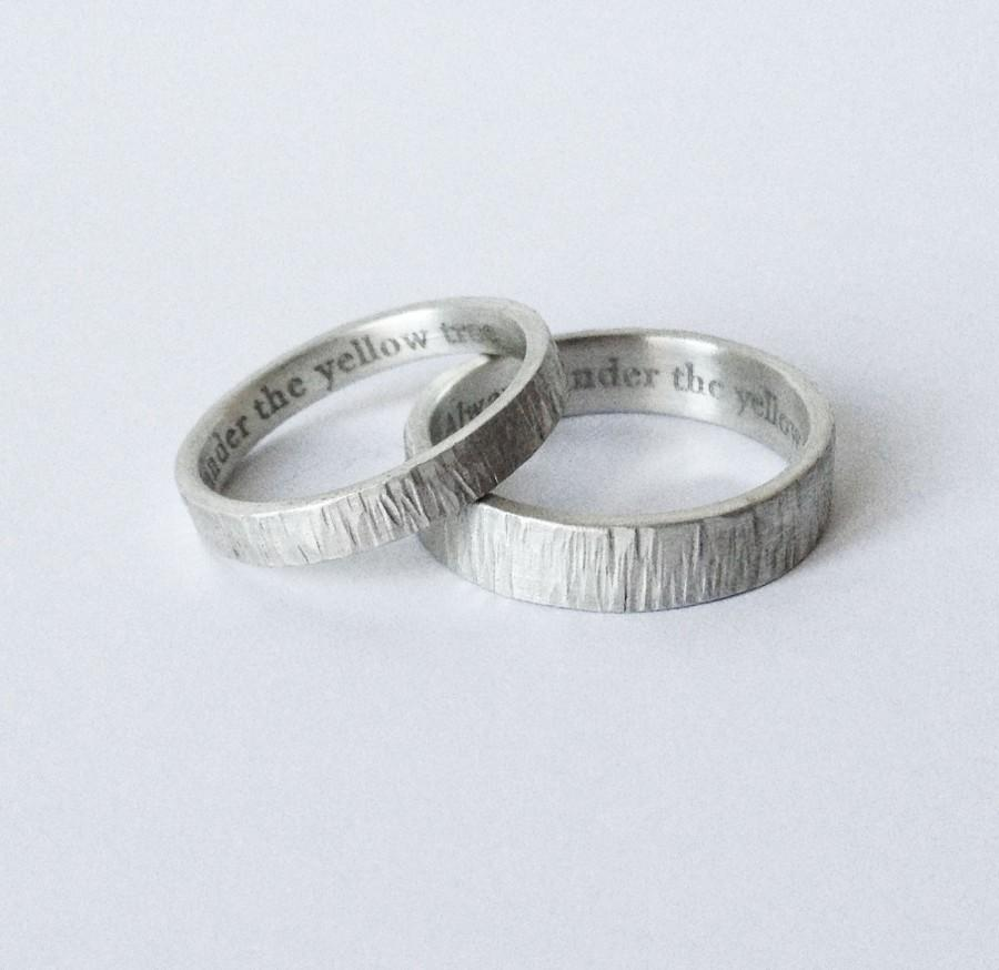 Simple Engraved Wedding Rings Handmade Hammered Silver Bands 5mm 3mm Satin Finish Ring Bark Custom Made