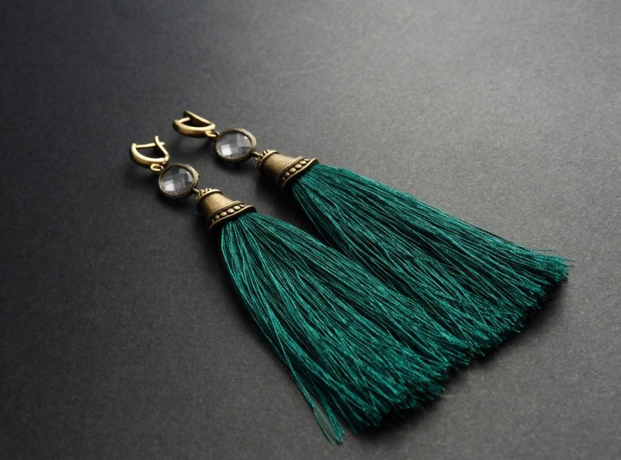 Wedding - Tassel Earrings Green Long Earrings Clear Crystal Earrings Dangle Earrings Bronze Earrings Emerald Statement Earrings Chunky Earrings. FLJ