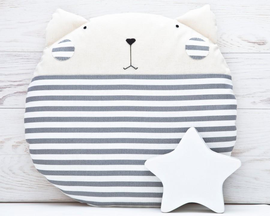 Striped Gray Cat Cushion Round Pillow Decorative