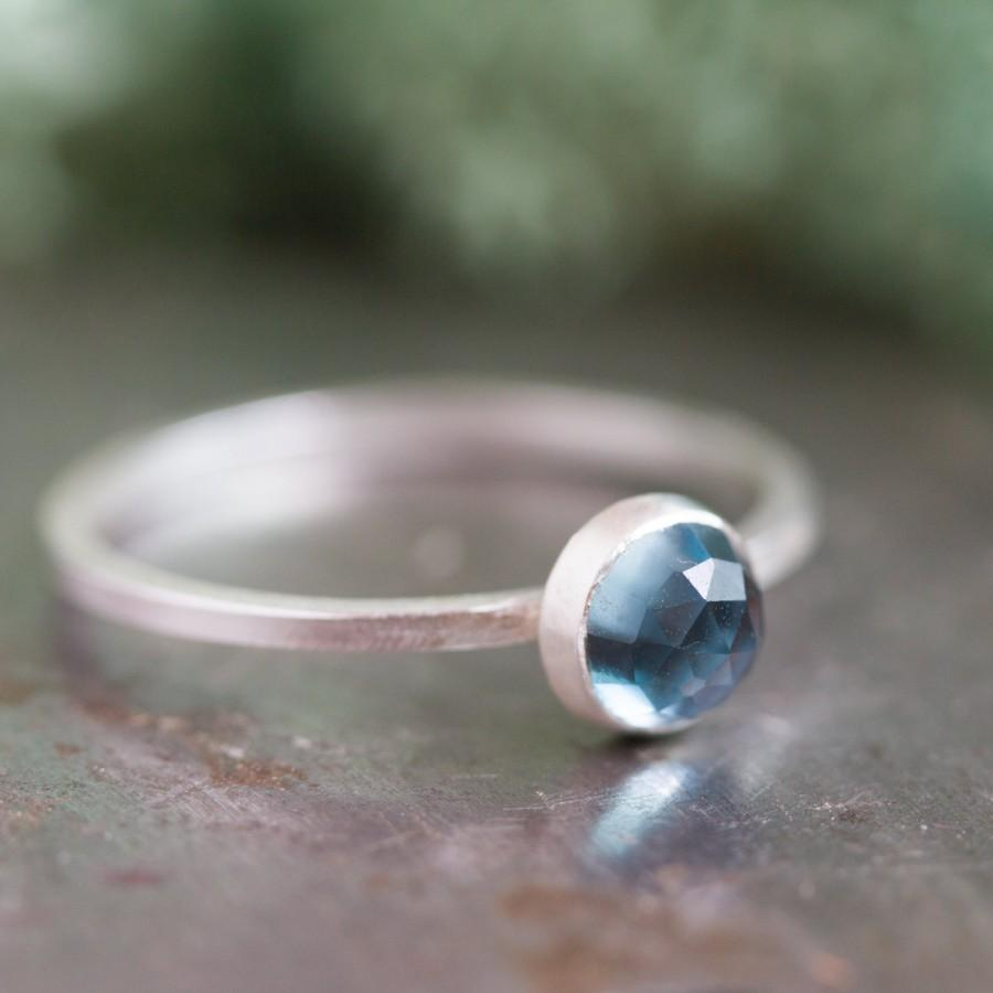 Wedding - The Sky - Simple silver solitaire ring with  London Blue Topaz faceted gemstone