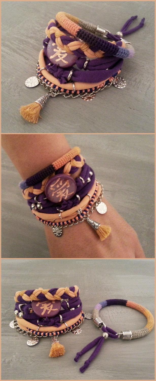 Wedding - Bohemian Bracelets Chinese Love Hieroglyph Peach Purple, Tassel Bracelet Modern Hippie Style, Jersey Layering Bracelet