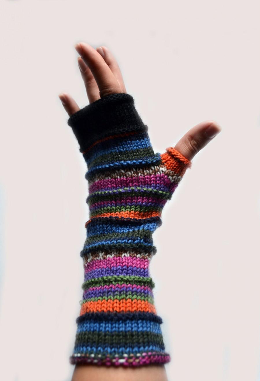 Свадьба - Merino Wool Fingerless gloves - Wool Arm warmers - Fingerless gloves - Fashion Gloves - Rainbow Fingerless Gloves nO 63.