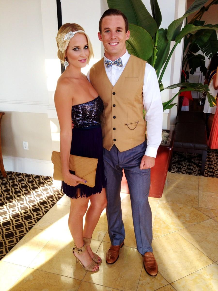 Mariage - Bandeau cheveux, flapper headband, flapper dress, Great Gatsby Dress Feather Fascinator Headband 1920s Halloween Costume, Great Gatsby