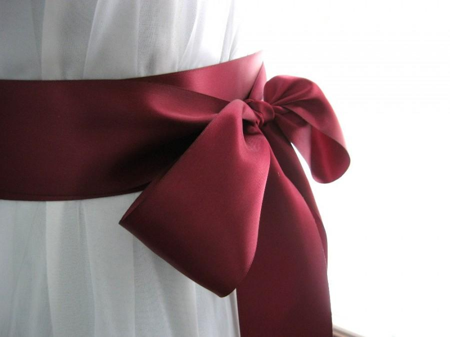 Mariage - Wine / burgundy / merlot / garnet wedding sash, bridal sash, bridesmaid sash, bridal belt, 2.25 inch satin