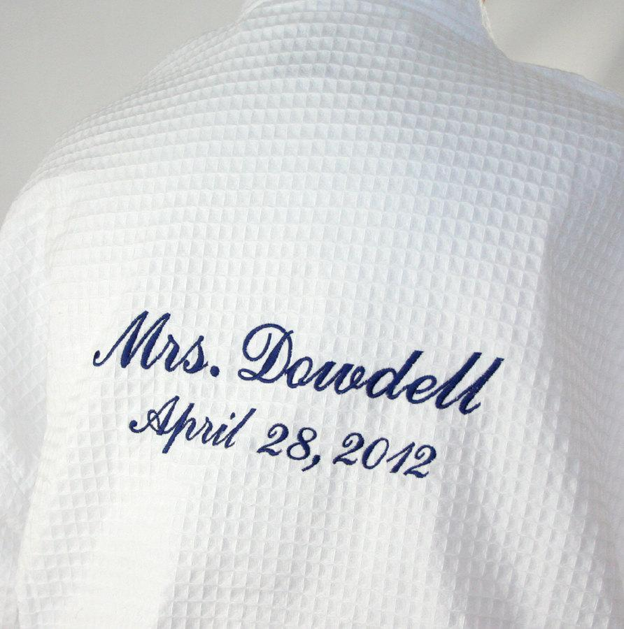 62943144b3 Personalized Robe Bride front   back embroidery Wedding Date and Bride or  Mrs. or I Do waffle weave spa robe