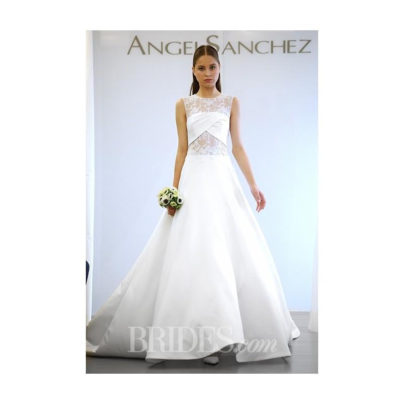 Angel Sanchez - Fall 2015 - High Neck Mikado Ball Gown Wedding Dress ...