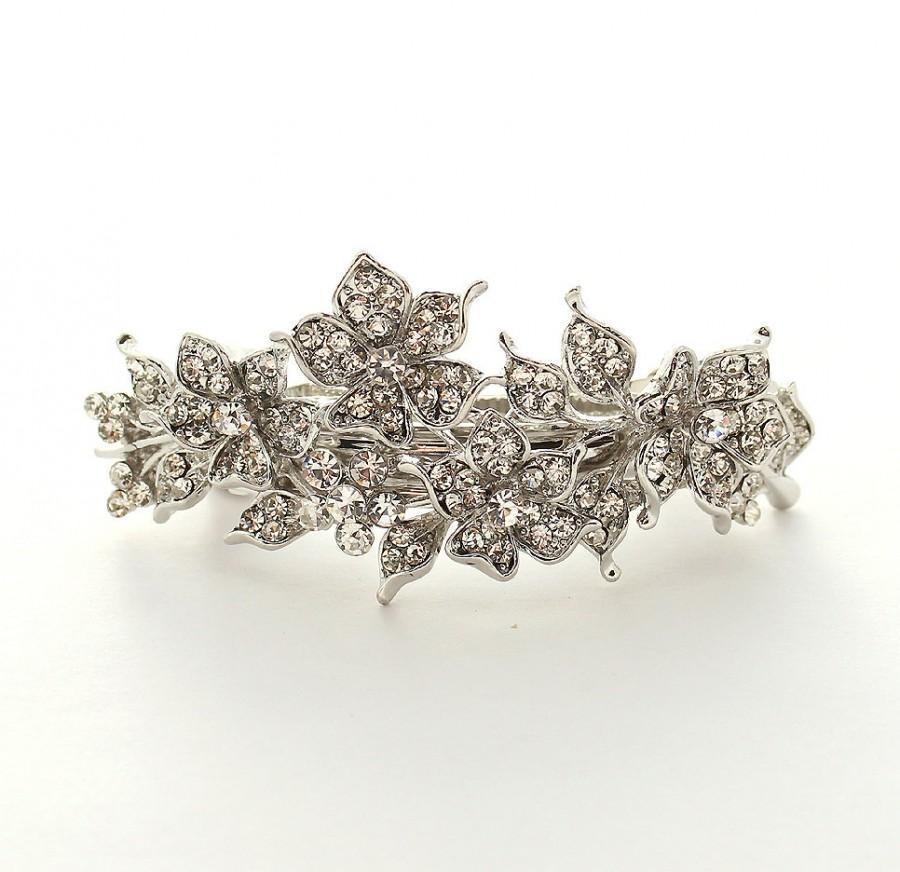 Hochzeit - Bridal Hair Clip Rhinestone Barrette Crystal Wedding Hair Jewelry Bridal Hair Accessory Silver Barrettes