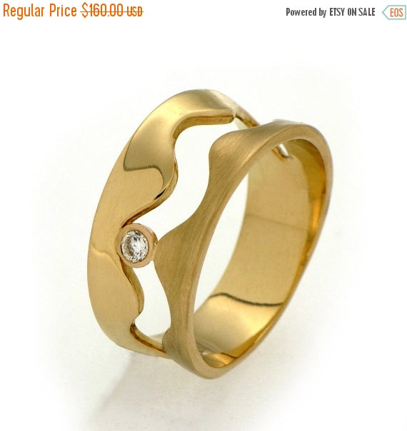Mariage - SALE 20% Off - WAVE Gold CZ Ring, Cz Engagement Ring, Gold Band, Gold Wedding Band, Unique Gold Band Ring, Unique Wedding Band Gold