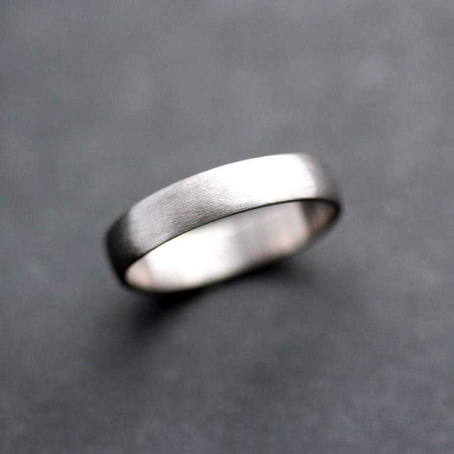 Men S Wedding Band 4 5mm Low Dome 14k Recycled Hand Carved