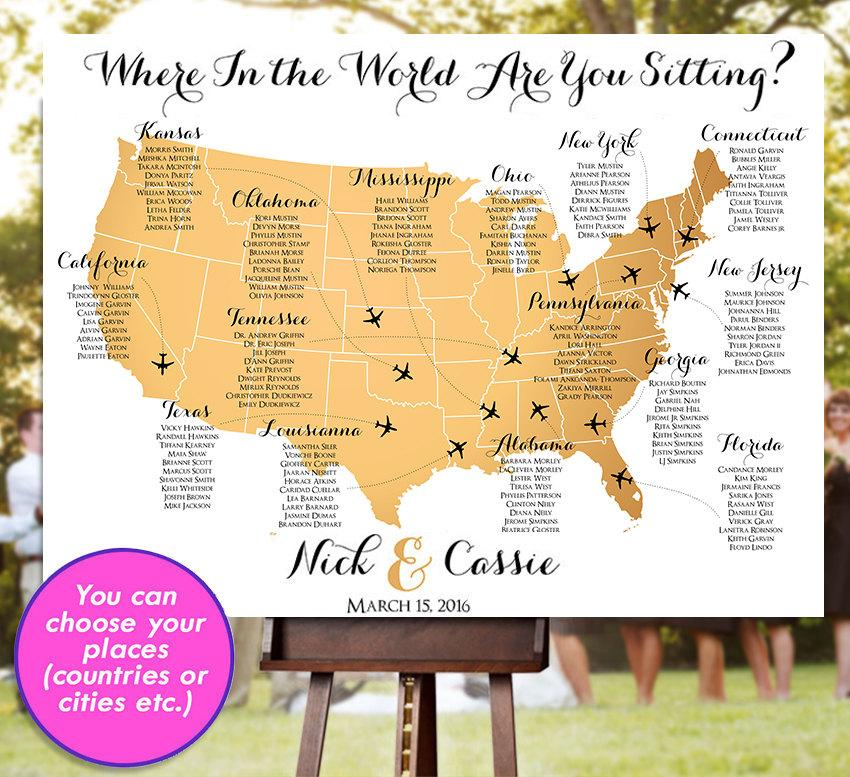 Wedding - Wedding Seating Chart - RUSH SERVICE - Gold USA World Map Plane Travel Theme Reception Poster - Digital Printable File HbC135b