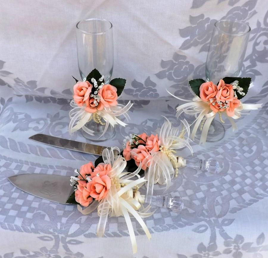 Wedding - Coral roses cake serving  and toasting glasses (4 pcs)