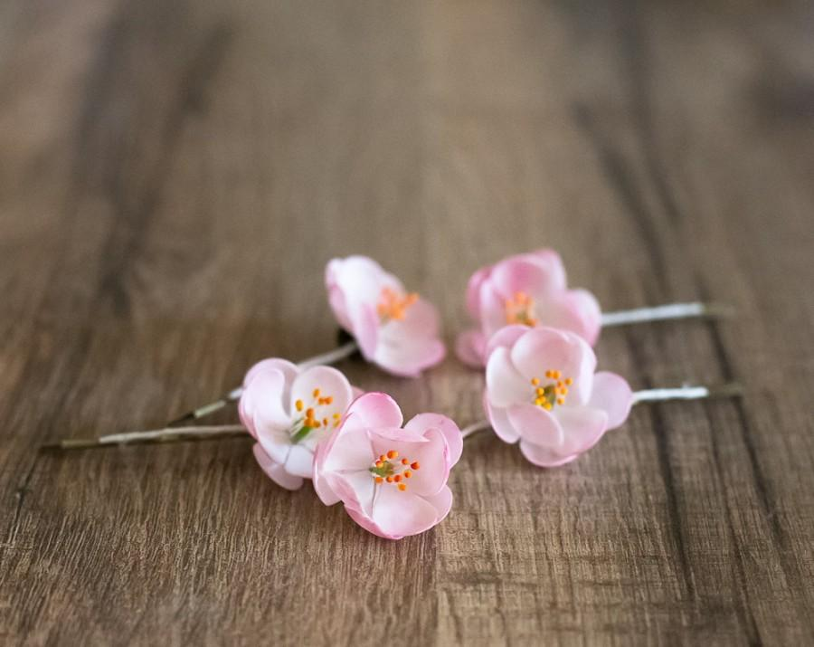 Mariage - Cherry blossom hair clips - cherry blossom wedding - pink bridal blossom flower hair pins - wedding bobby pins - hair clip set - floral pins