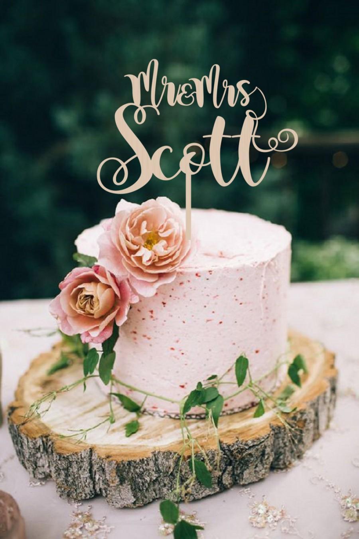 Mariage - Wedding Cake Topper Mr & Mrs Surname Wedding Cake Topper Golden  Custom Cake Topper  Personalized  Wood Cake Topper