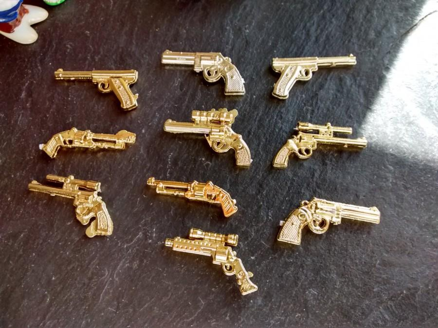 Hochzeit - 10 or 15 mini gold gun steampunk narco thug life guns DIY Murder Mystery military partners in crime Halloween birthday party craft supply