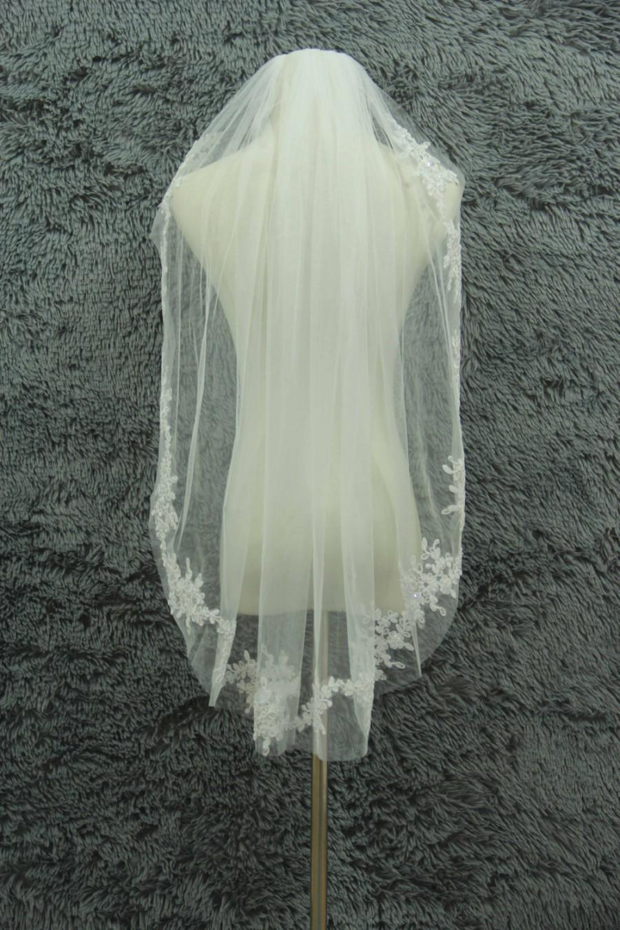 Свадьба - 1 Layer Applique lace veil Wedding veil White Ivory Bridal Veil Elbow veil Combs veil Crystal lace veil