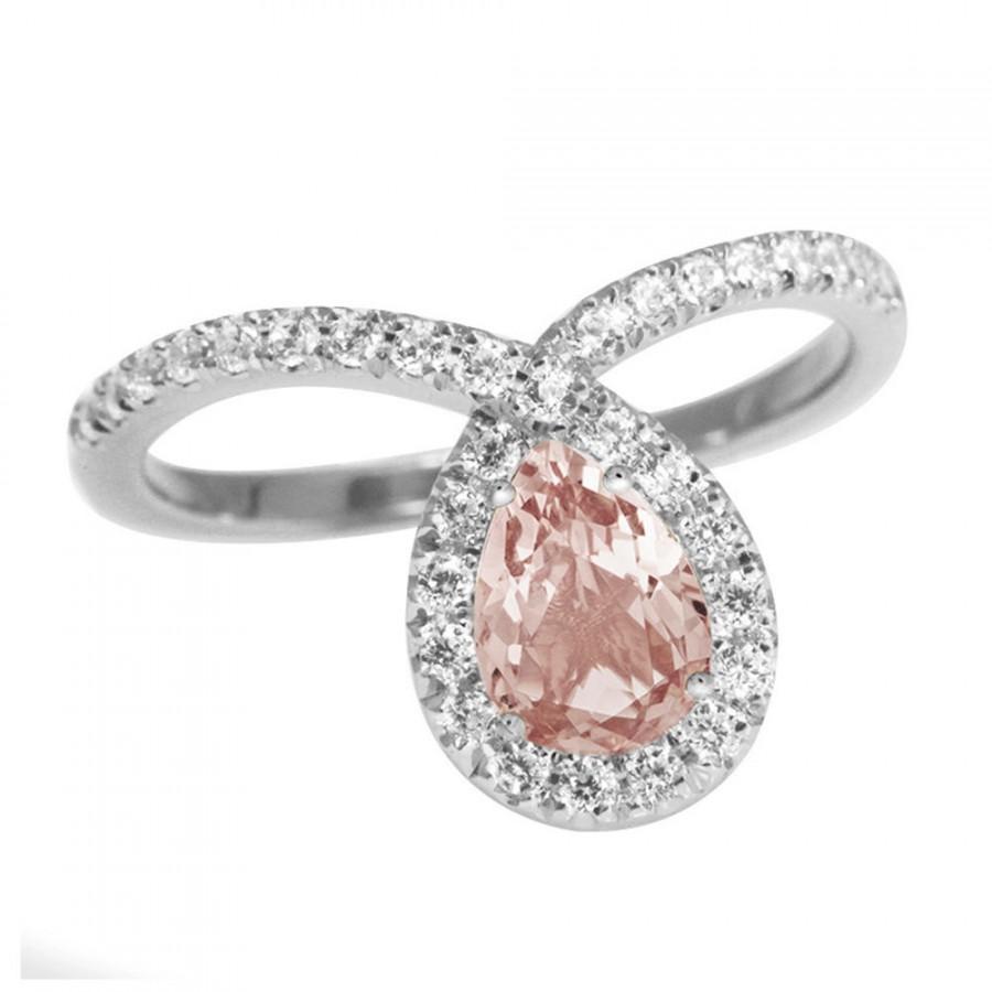 Rose Gold Morganite Engagement Ring Halo Ring Pear Shaped Ring